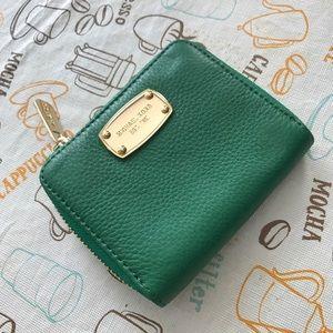 Michael Kors green leather short zip wallet